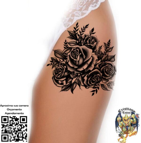 5 Rosas preto e sombra na coxa