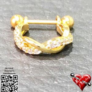 Ferradura dourada com pedras cristal trançadas zirconia