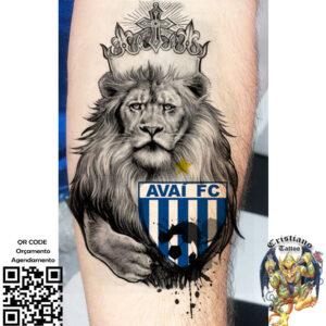 Leao_simbolo do Avai + Bola aquarela - Tattoo