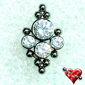 Labret com 4 pedras zirconias e 10 esferas - Titânio