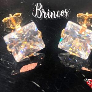 Brinco - Semi-Joia banhado a ouro – Quadradinho de cristal