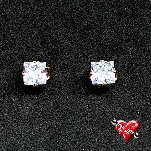 Brinco quadrado com pedra cristal zircônia - banhado a ouro - Semi - joias