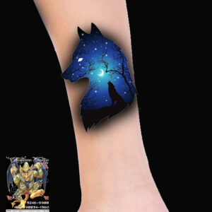 Cabeça lobo fundo noite com arvores + lobo ruivando - Desenho - Tattoo