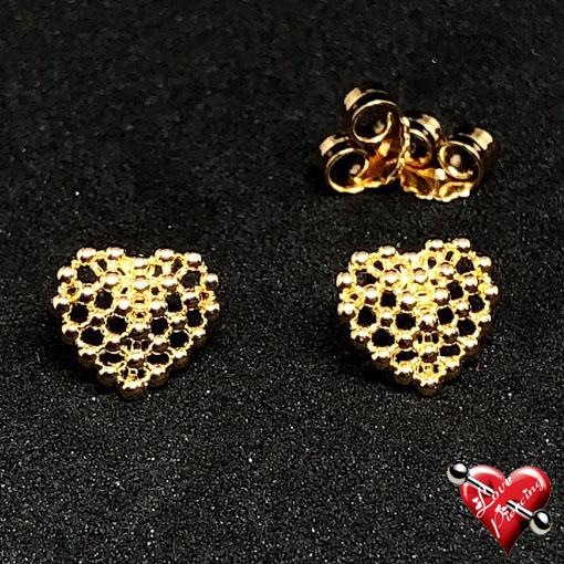 Coração geometrico – furadinho – Semi joia – Dourada – Brinco