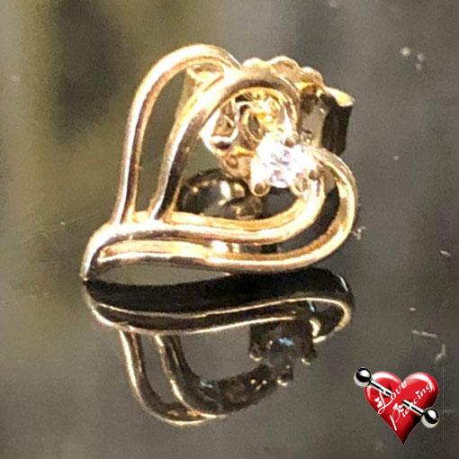 Dois coração com pedrinha zircônia centro - Semi joias - Banhado a ouro - Brinco