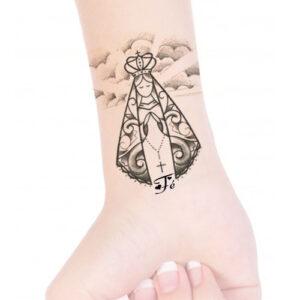 Nossa senhora Aparecida + Fé - Pulso - Desenho - Tattoo - Preto e sombra