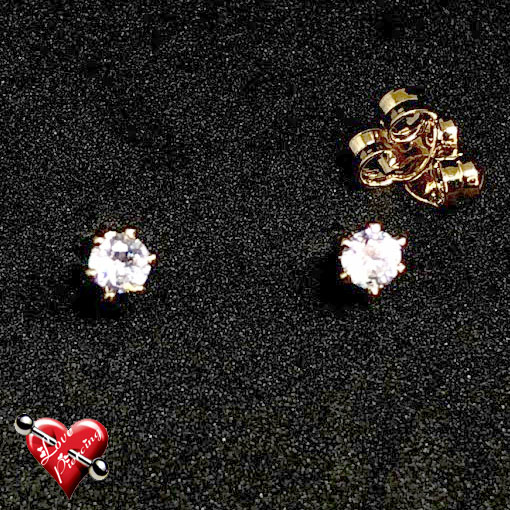 Ponto de luz – pedra com zirconia - Tamanho medio – Semi joias – Dourada – Brinco