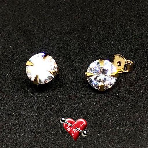 Ponto de luz - pedra grande - semi joias - dourada - Brinco