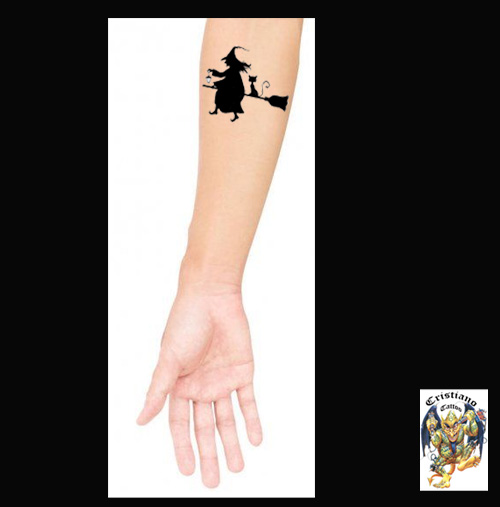 Bruxa, Vassoura, Gato, Lampião - Desenho - Tatuar