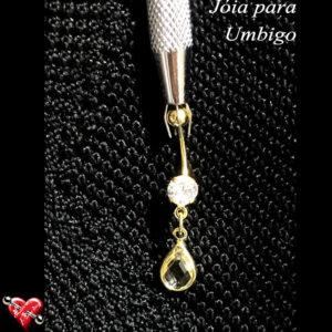 Banana bell decorado com 2 pedras - banho de ouro - Piercing - Umbigo